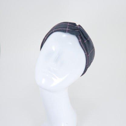 Schmales Stirnband Lisa in graurosa Windowpanemuster