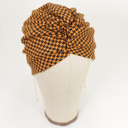 Turban Erna Reloaded in Orange mit Hahnentrittmuster